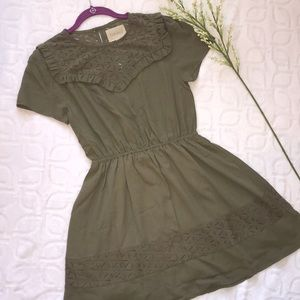 NWOT ANTHROPOLOGIE MOON RIVER Army Green Dress M